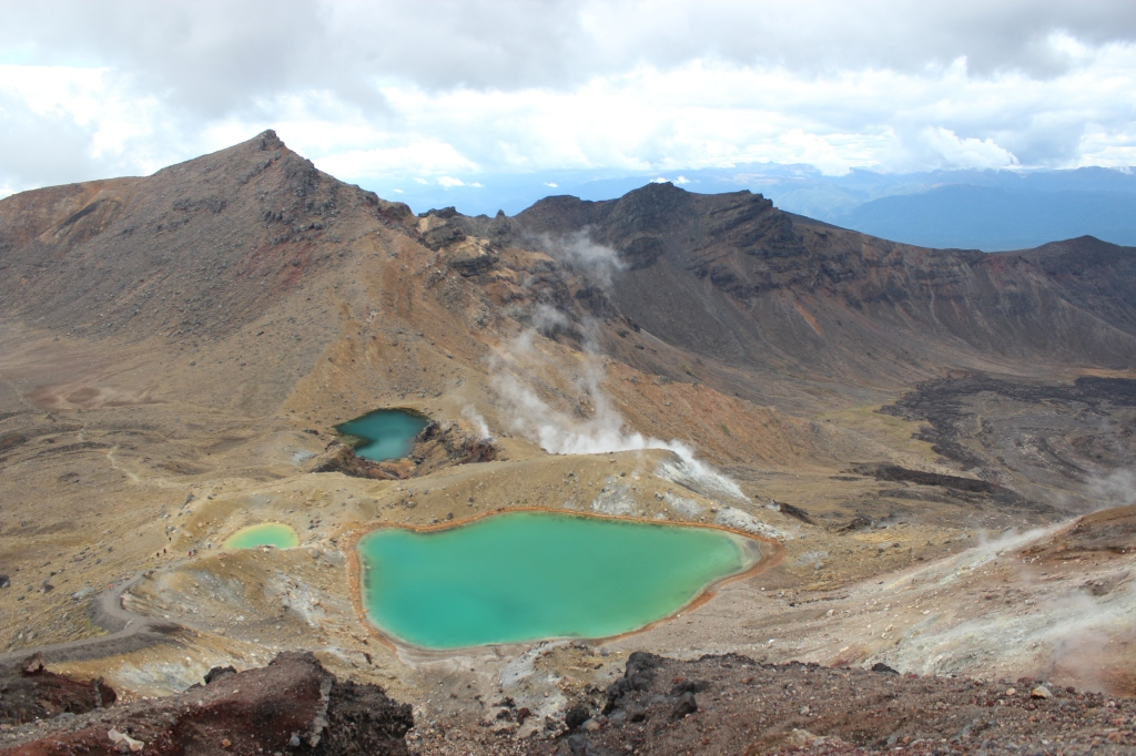 Volcanic pools known as the Emerald Lakes