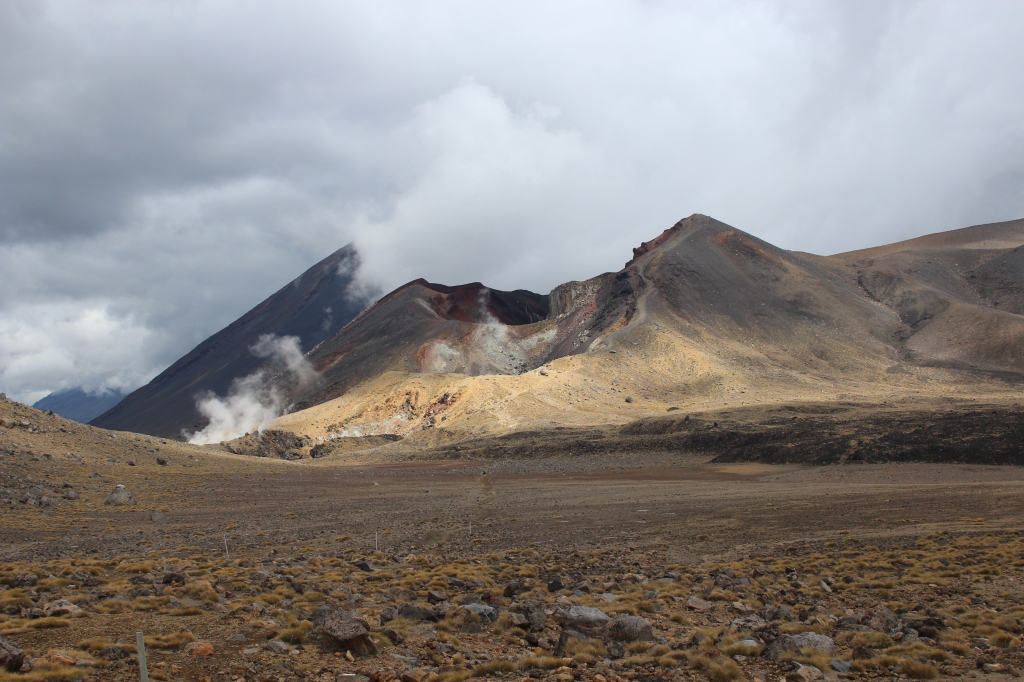 Volcanic wasteland and crater