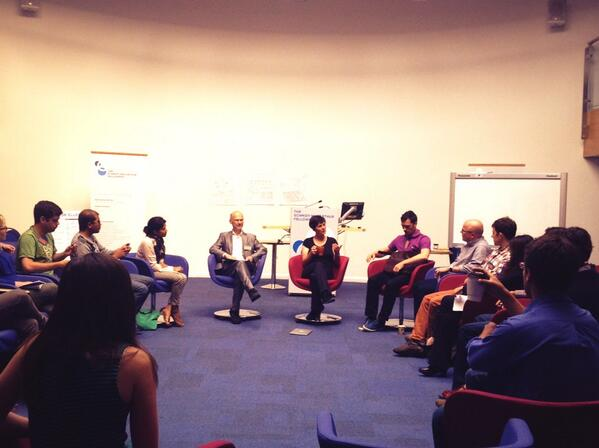Fellows getting the chance to pose questions to Ellen MacArthur.