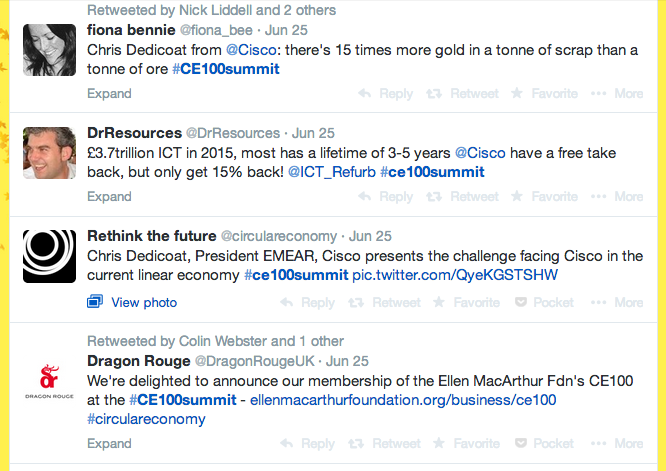 A tiny selection of the Tweets flying around during the CE100 Summit.